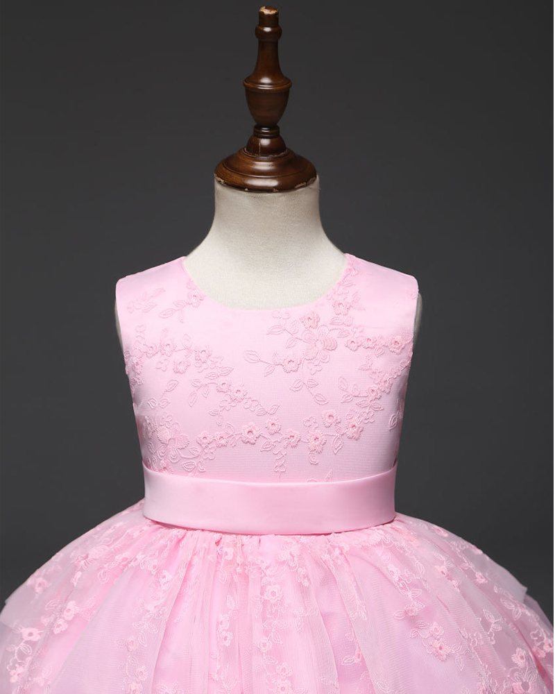 Pink Lace Girls Party Dress Pricess Flower Girl Dresses Belt Short Holoday Gowns