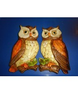 Vintage Pair Of LEFTON Ceramic Owls Wall Hangings Decorative Plaques #38... - $29.69