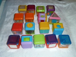 LOT 17pc FISHER PRICE Sensory PEEK A BOO Activity BLOCKS SHAPE COLOR REP... - $29.69