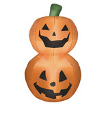 "Fall Halloween decor yard display Stacked Pumpkin Duo Inflatable, 42"" se... - $128.69"