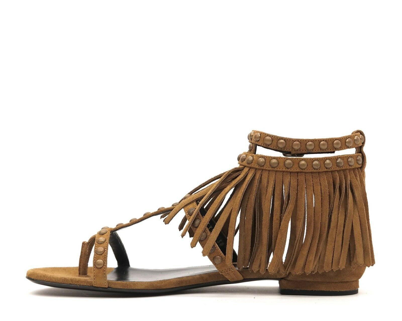 Saint Laurent Sandals Nu Pied Fringe Size 8.5 New