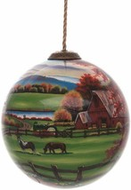 Peaceful Tranquility Ornament New Inner Beauty Horses Barn Glass No Box - $44.54