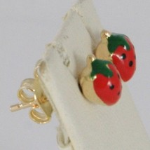 18K YELLOW GOLD KIDS EARRINGS GLAZED RED STRAWBERRY, BUTTERFLY, MADE IN ITALY image 2