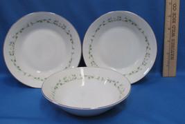 Set 3 Berry Bowls Sheffield Fine China w/ Elegance Pattern White Floral Green - $13.85