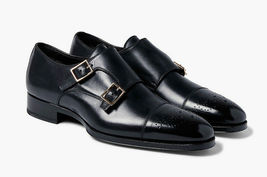 Handmade Men's Black Two Tone Brogues Double Monk Strap Leather Shoes image 2