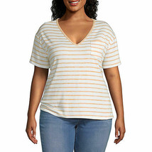 a.n.a. Women's Plus V Neck Short Sleeve T Shirt Size 1X White Gold Strip... - $21.77