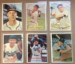 1957 Topps Baseball Card Lot of 6 Braves Dodgers Red Sox VG/VG+ RF1 - $12.99