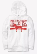 Victoria's Secret PINK Bling Hoodie White Rhinestone Red Logo Tunic Pull... - $58.25
