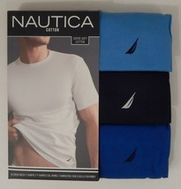 3 NAUTICA MENS COTTON BLUE GRAY WHITE CREW NECK S M L XL T-SHIRTS UNDERS... - $26.90