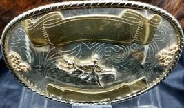 "BAREBACK Belt BUCKLE 5"" Oval GERMAN SILVER+Gold Western RODEO Trophy Sad... - $44.99"