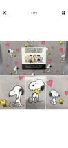 4pc Berkshire Peanuts QUEEN Sheet Set Snoopy Woodstock Love Pink Hearts Gray - $48.51