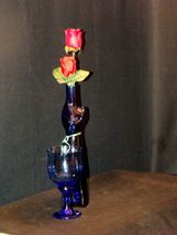 Blue Cat Stem Vase and Wine Glass AA19-1584 Vintage image 3
