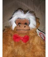 "Goffa Plush Monkey Swing Brown Stuffed Animal Hanging NWT 7"" Red Bow Tie... - $14.85"