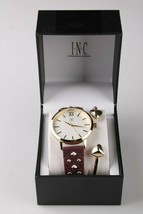 I.N.C. Women's Gold Tone Embossed Faux Leather Strap Studs 38mm Watch + Bracelet image 2