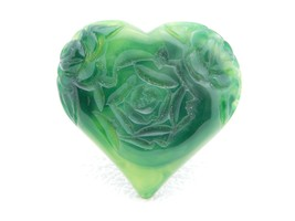 VTG Green Marbled Carved Lucite Large Heart Pin Brooch - $29.70