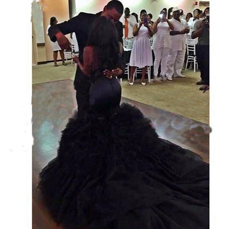 Black Mermaid Wedding Dress Vintange gothic Sweetheart Wedding Gowns image 5