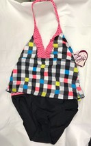 NEW Girl's Kohl's Candie's Swimsuit  Size 14 1/2  2 piece with mesh wrap... - $9.90