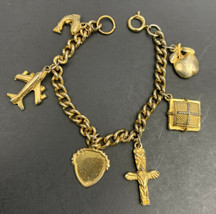 "Gold Tone Charm Bracelet Totem Airplane Koi Fish Apple Charms Vintage 7"" Travel - $19.75"