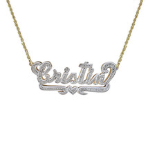 0.08 Carat Diamond 'Cristin' Nameplate Pendant 14K Two Tone Gold - $325.71