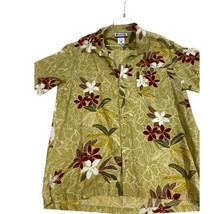 Columbia Mens Hawaiian Shirt Green White Floral Collar Pocket Aloha Vint... - $17.63