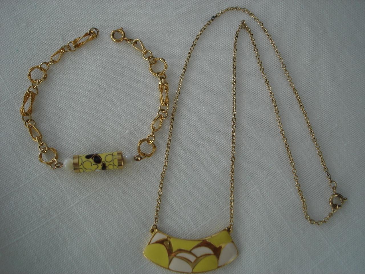 2 Vintage Thailand Cloisonne Enamel Pendant Necklace Bracele