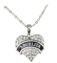 Abuelita Clear Crystal Heart Pendant Silver Chain Necklace Abuela Grandm... - $15.04