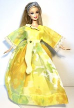 Barbie Doll Blonde Blue Eyes Hair band Green/Yellow Dress Shoes Jointed Knees - $5.45