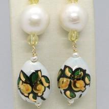 Ohrringe aus Gold Gelb 750 18K Perlen Fw und Tropf Bemalt Hand Made in Italy image 2