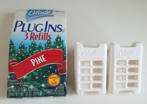 Primary image for New Glade Fresh Gel Scented Plug Ins Pine Scent 3 Refills + 2 Holders Pack RARE