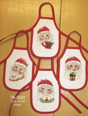 Santa Wine Aprons kit counted cross stitch kit Permin of Copenhagen