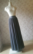 DARK GRAY Maxi Tulle Skirt For Wedding Dark Grey Wedding Bridesmaid Skirt,wd398 image 7