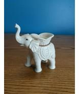 LENOX Porcelain Trunk Up Elephant Tea Light Candle Holder 22K Gold accents  - $9.85