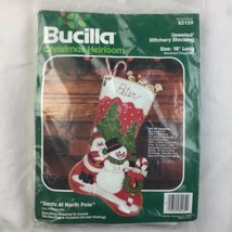 Vintage Bucilla Santa at North Pole Jeweled Felt Christmas Stocking Kit ... - $37.39