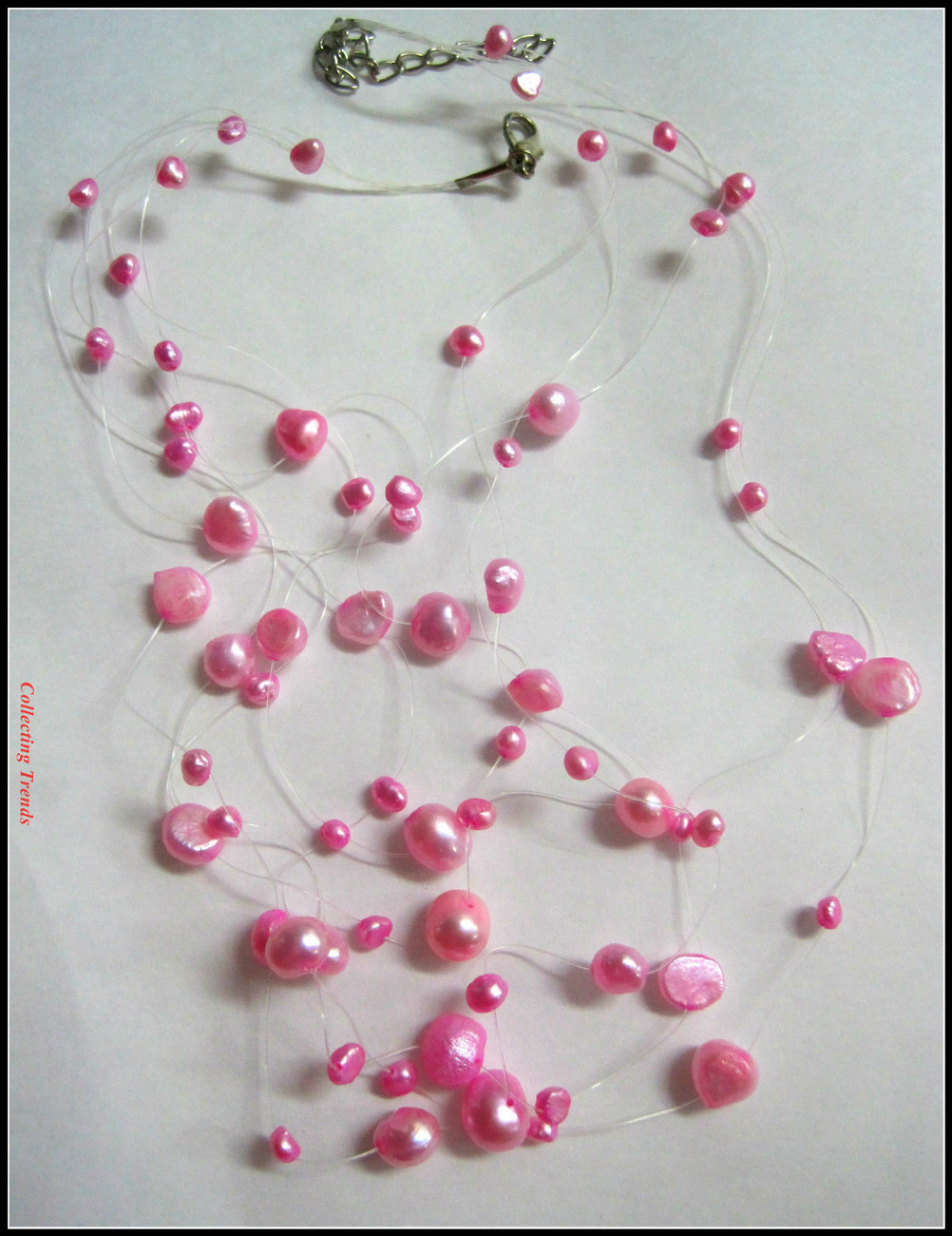 Floating Pearls Multi Strand Necklace Choker Pink