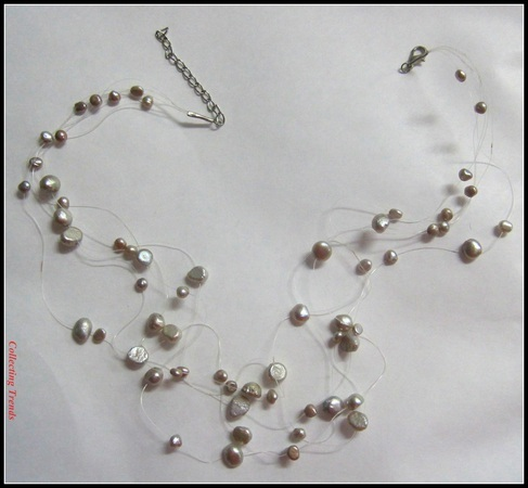 Floating Pearls Necklace Multi Strand Dazzling Choker Silver