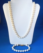 Vintage Faux Pearl Strand Necklace & Bracelet Set Goldtone - $15.99