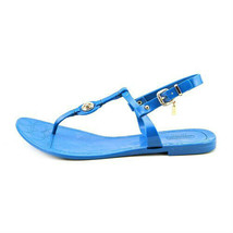 New women's COACH New Pier Shiny Jelly Open Toe Thongs Sandals Shoes 7 teal - $56.38