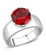 8mm Siam Red Crystal Ring Stainless Steel TK316 - $18.00