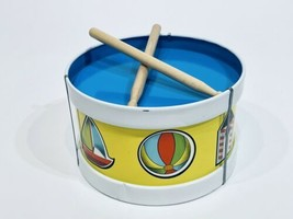 Vintage Ohio Art Tin Litho Toy Drum with Toy Characters Bryan Ohio - $19.99