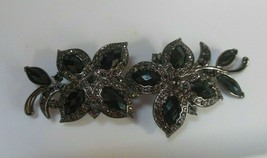 Estate Signed Monet Long Black Jet Stone Floral Brooch/Pin - $34.65