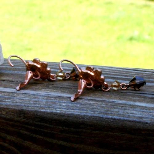 Peridot and Amber Rhinestone Crystal Dangle Earrings