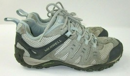 MERRELL Women's Size 9 Air Cushion Grey Blue Lace up Hiking Walking Shoes  - $16.70