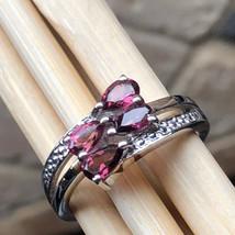Natural 1ct Rhodolite Garnet 925 Solid Sterling Silver Engagement Ring sz 6 - $98.99
