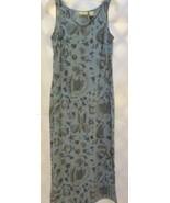 LIMITED AMERICA Long Straight Sleveless Shift Dress Cadet Blue Print V-N... - $12.73
