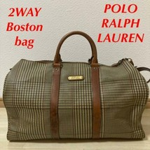 POLO RALPH LAUREN Boston Shoulder Hand Bag Gun Club Plaid Out Of Print R... - $321.00