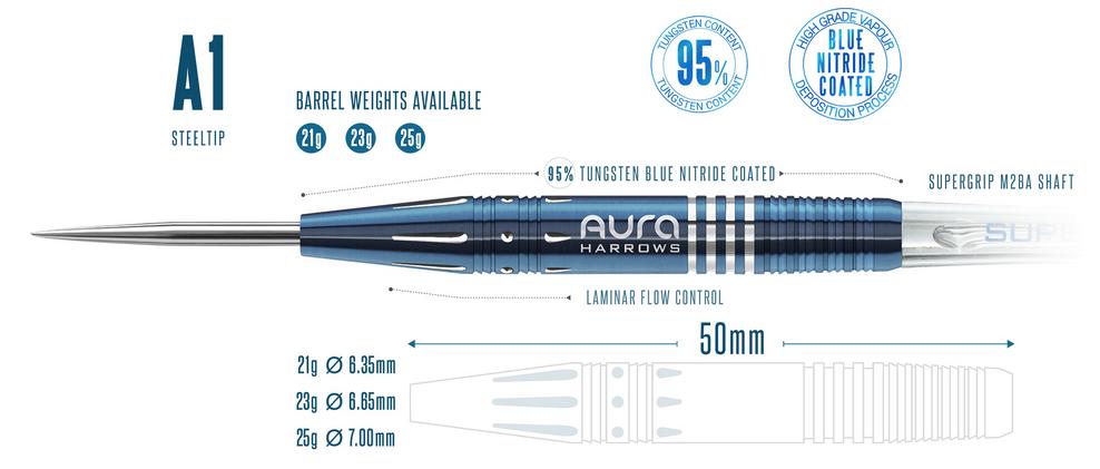 Harrows Aura A1 95% Tungsten 21 gram Steel Tip Darts 21gR