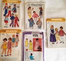 #102, Lot of 5 Vintage Children's Patterns, cut - $9.99