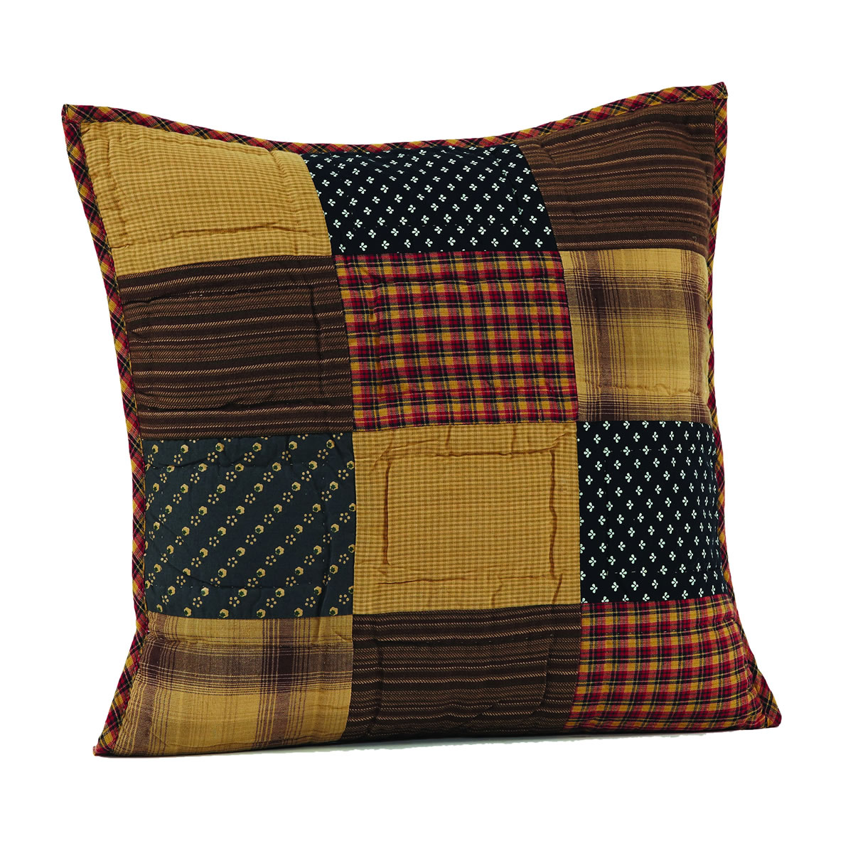 3-pc Patriotic Patch Pillow Set - 1 Quilted, 1 Plaid and 1 Little Pillow - VHC