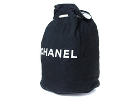 Authentic CHANEL Black Cotton Canvas Drawstring Backpack Bag CS2505L - $4.629,26 MXN