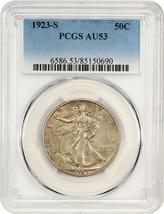 1923-S 50c PCGS AU53 - Scarce Early Walker - Walking Liberty Half Dollar - $2,056.40
